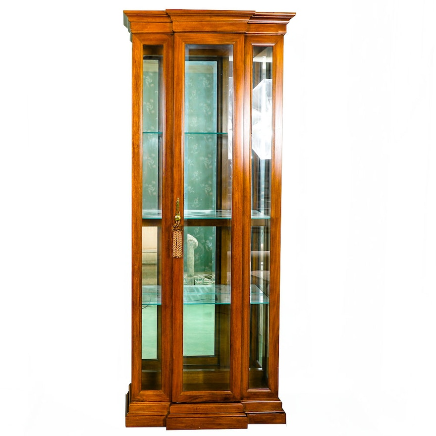 Vintage Illuminated Breakfront Curio Cabinet By American