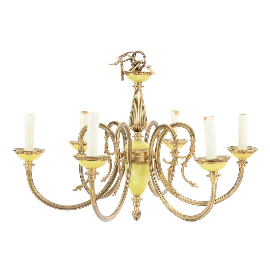 Vintage Spanish Brass And Glass Six Arm Candlestick Chandelier