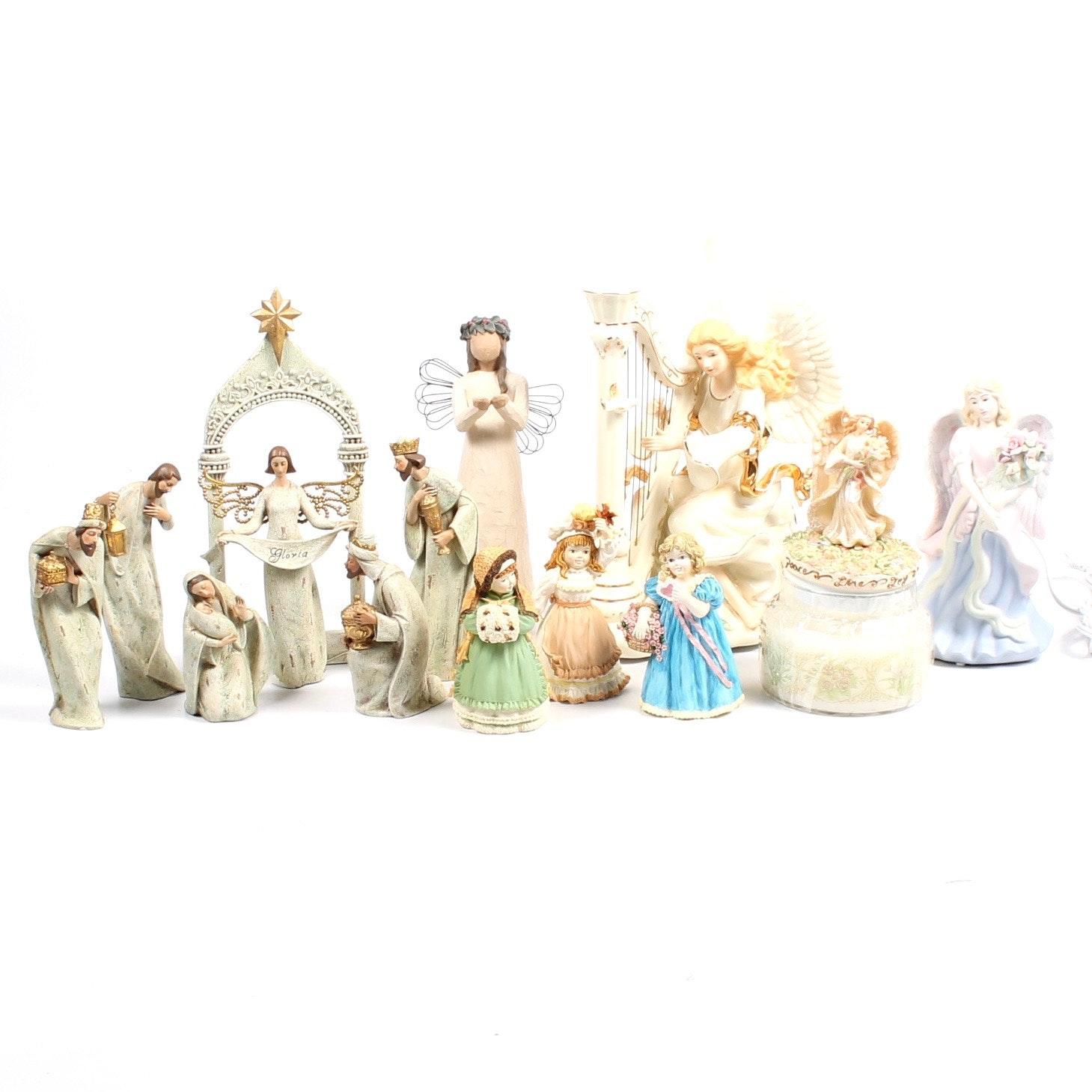Nativity Set and Angel Figurines