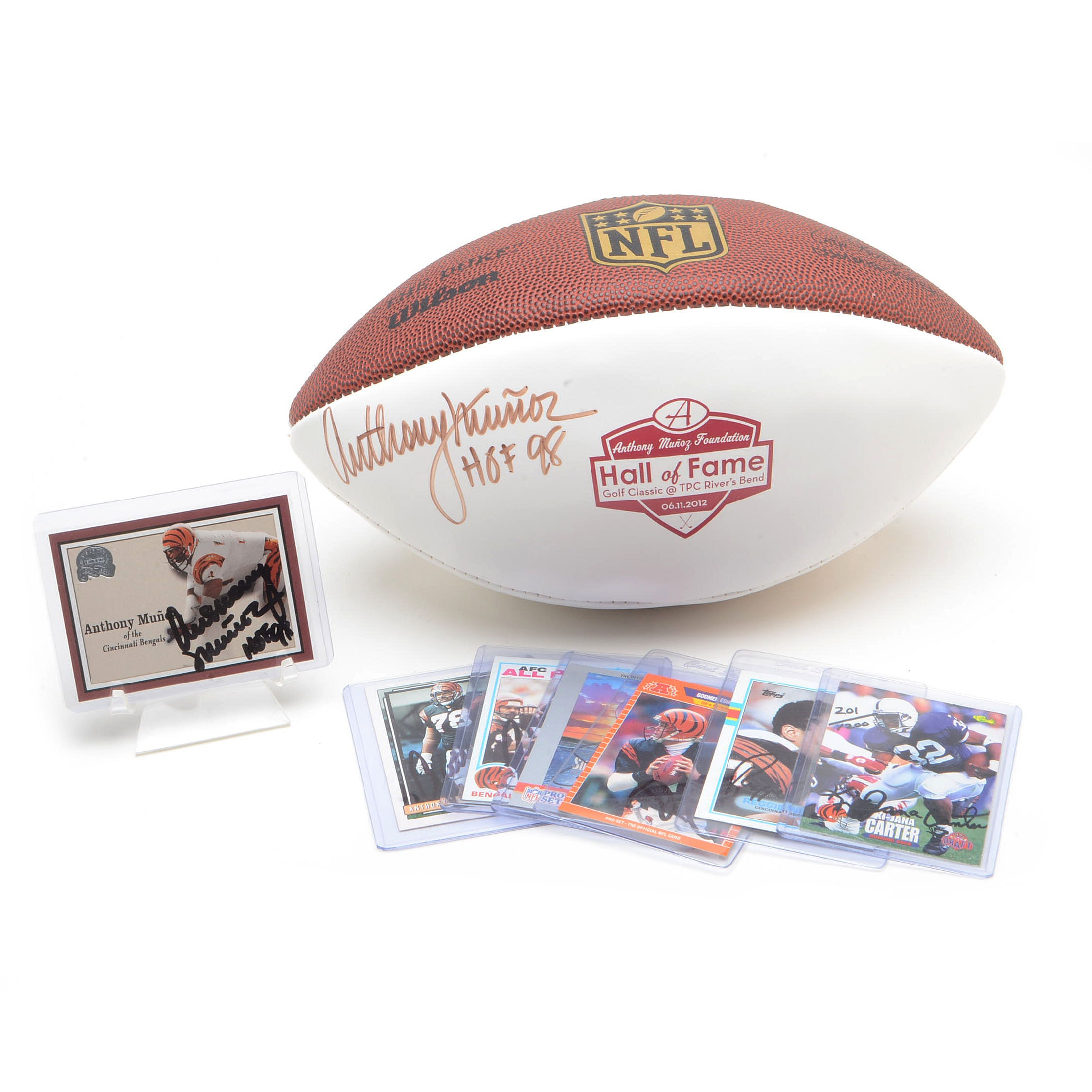 Munoz Signed Football and Other Bengal Signed Cards
