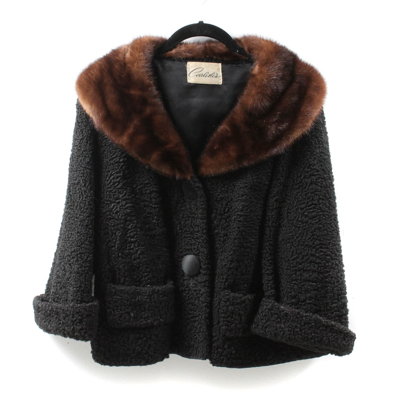 Vintage Carlisle's Black Persian Lamb Fur Jacket With Brown Mink Fur Collar