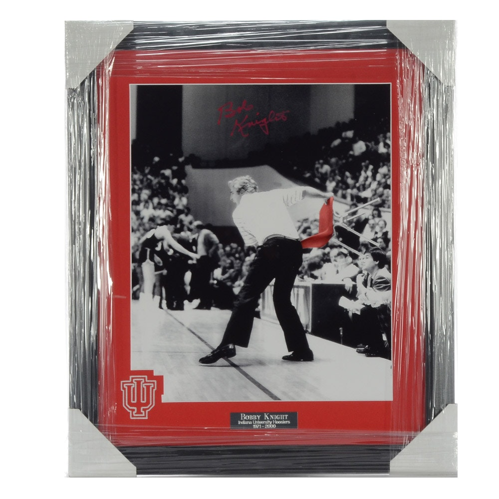 "Bobby Knight Signed ""Throwing Chair Ejection"" Basketball Display"