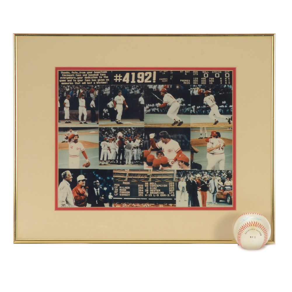 Pete Rose Signed Baseball with Framed Collage