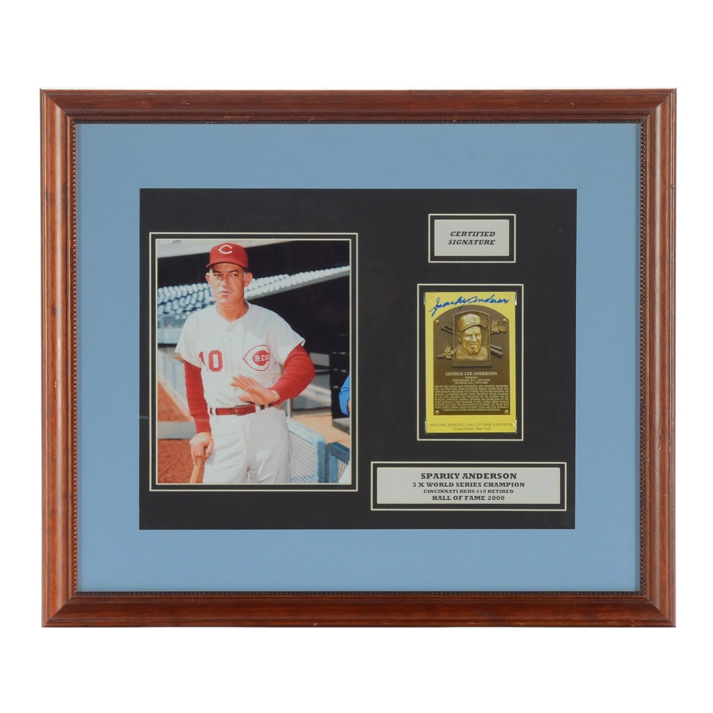 Sparky Anderson Signed Display  COA