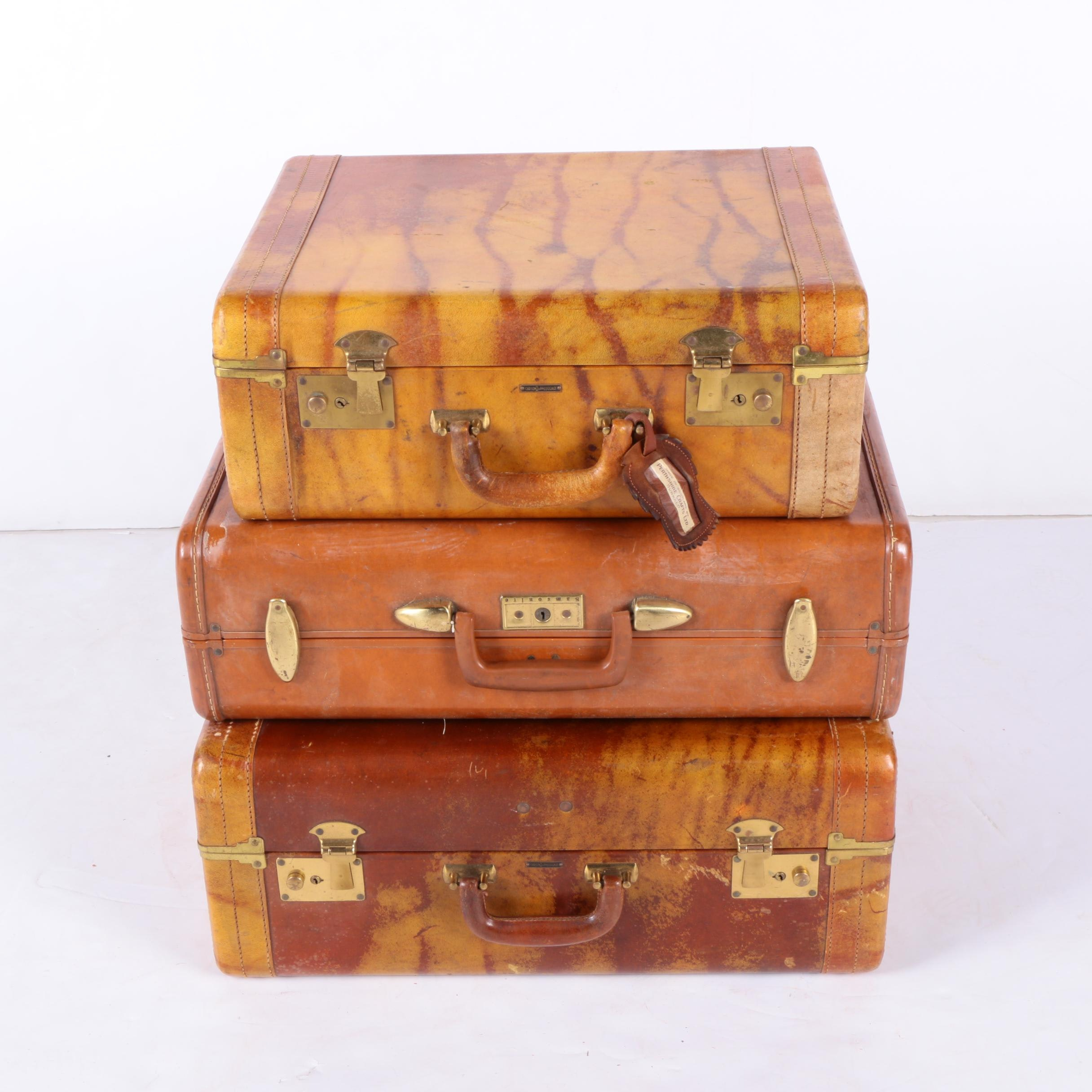 Vintage Leather Suitcases Including Carson And Samsonite