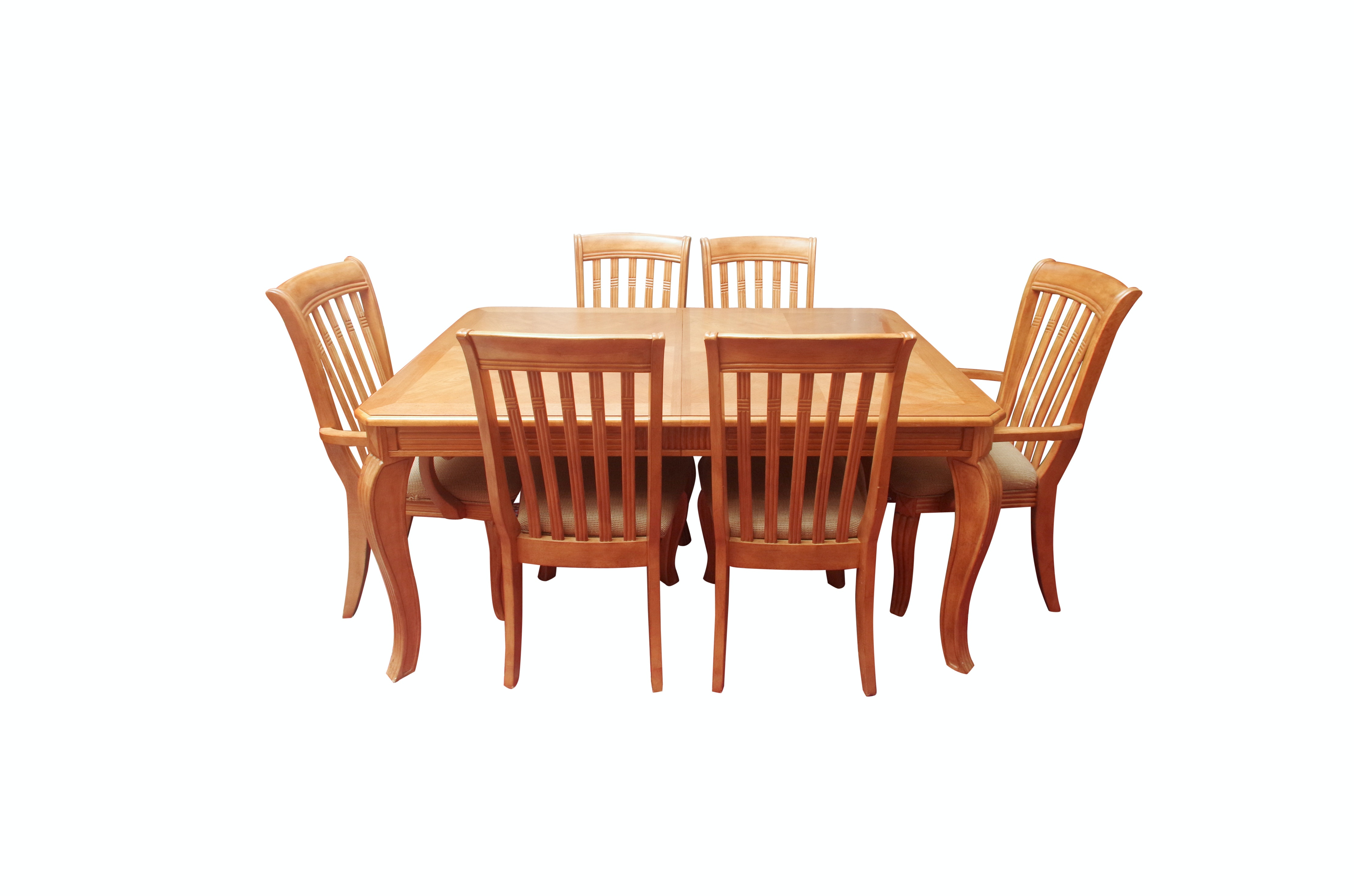 Parquetry Top Dining Table and Six Chairs