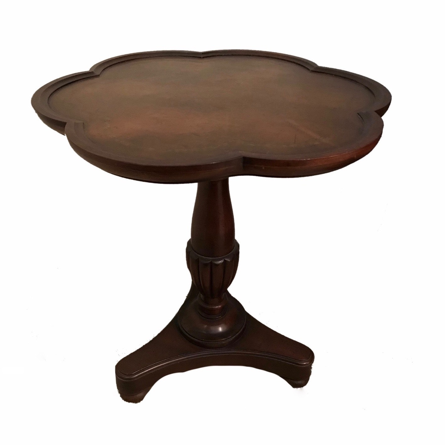 Vintage Leather Top End Table ...