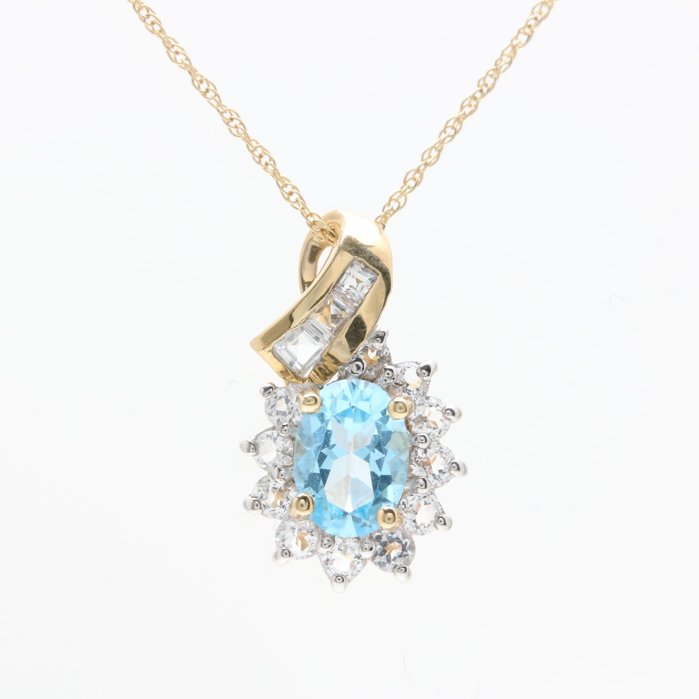 10K Yellow Gold Blue and White Topaz Pendant Necklace