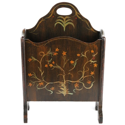 Hand Painted Wooden Magazine Rack - Furniture Auctions Online Antique Furniture Auctions In Charlotte