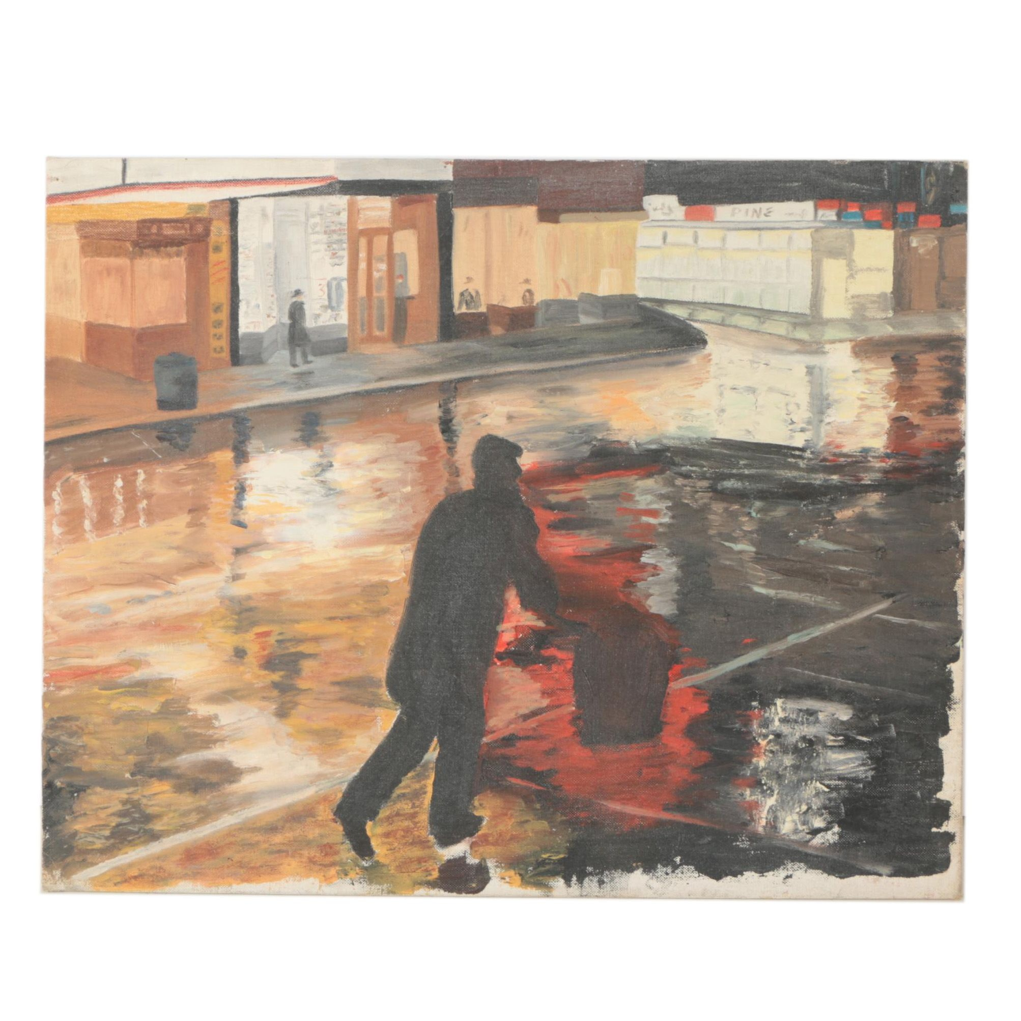 """Late 20th Century Oil Painting of Street Scene """"The Intruder"""""""