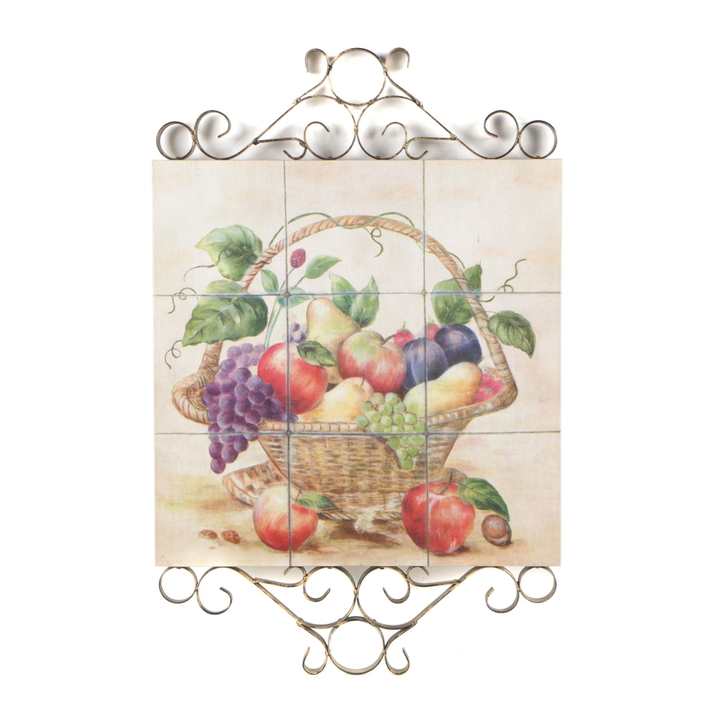 Offset Lithographic Fruit Basket Still Life Wall Decor