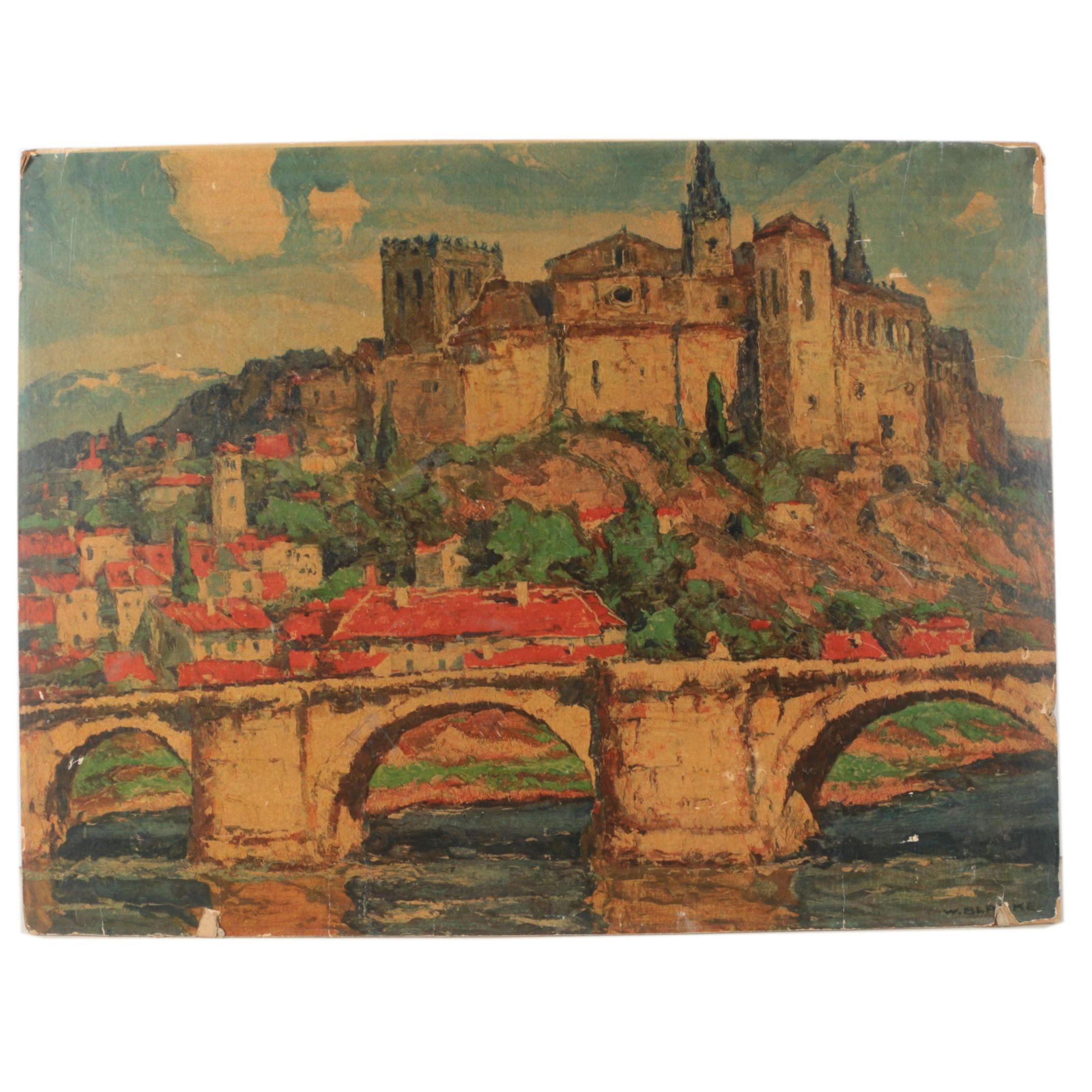 "Giclee After Wilhelm Blanke ""Italian River Scene"""