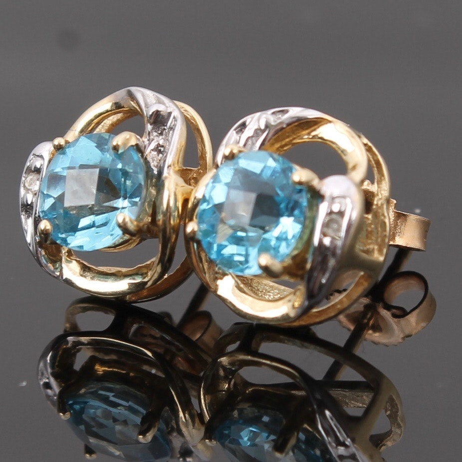 10K Yellow and White Gold Blue Topaz and Diamond Earrings