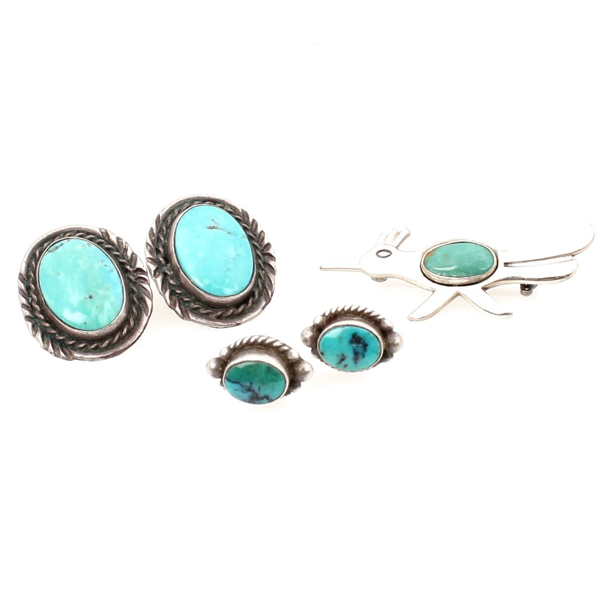Sterling Silver Turquoise Earrings and Brooch