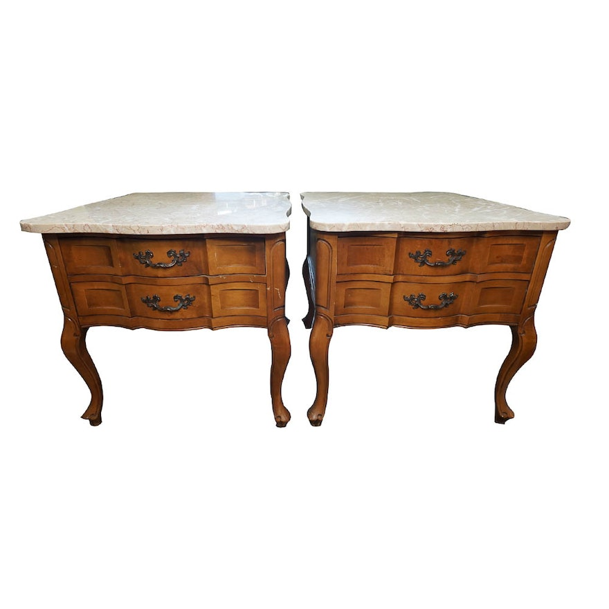 French Provincial Marble Top End Tables By Hammary