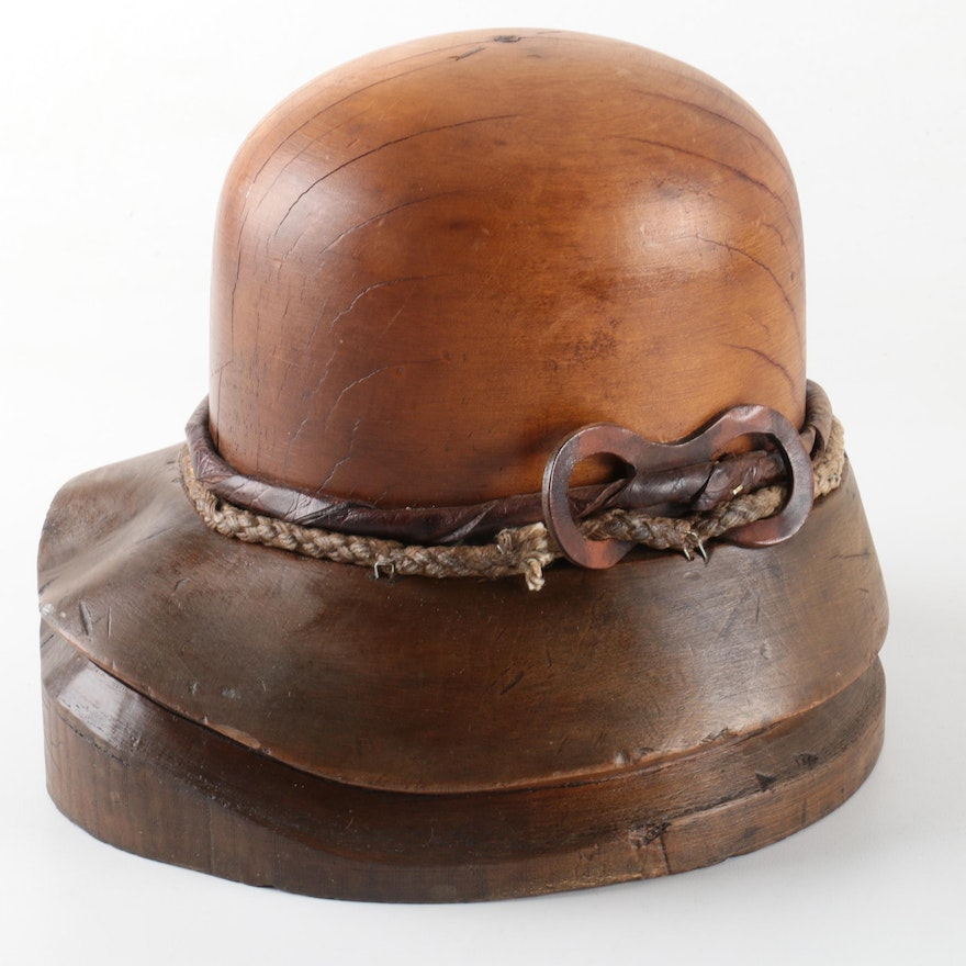 e24528cdbed5d Decorative Carved Wooden Cloche Style Hat Form   EBTH