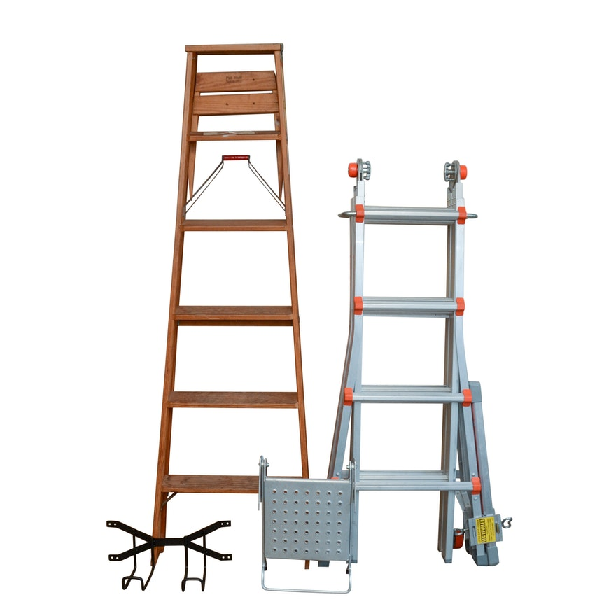 Wooden 6\' A-Frame Ladder, Wall Hook, Little Giant Ladder and Work ...