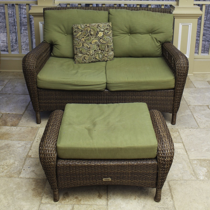Terrific Martha Stewart Living Wicker Patio Loveseat And Ottoman Lamtechconsult Wood Chair Design Ideas Lamtechconsultcom