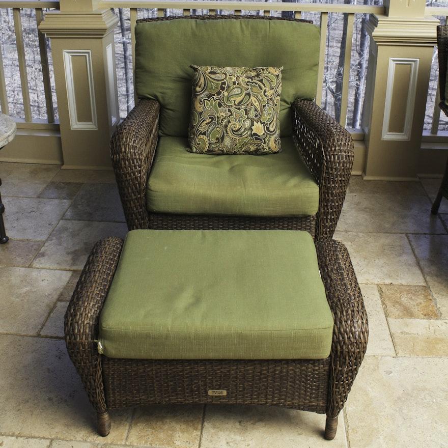 Martha Stewart Living Wicker Patio Armchair and Ottoman | EBTH on Martha Stewart Wicker id=13395