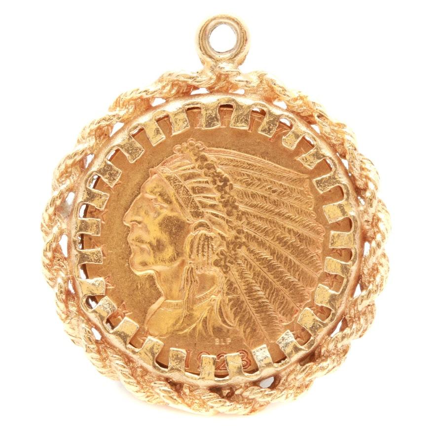 14k yellow gold sovereign pendant ebth 14k yellow gold sovereign pendant aloadofball Images