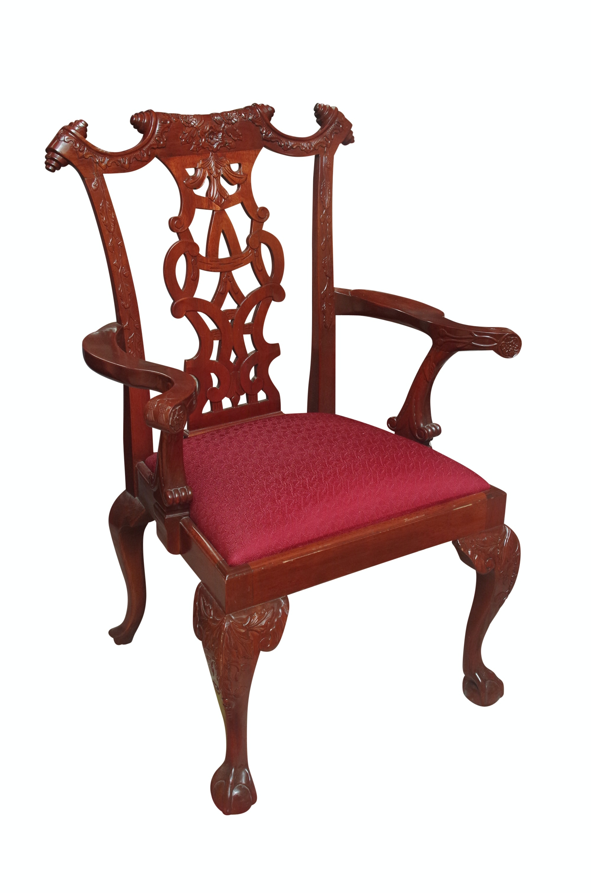 Vintage Korean Carved Wood Armchair by Georgian Furnishing
