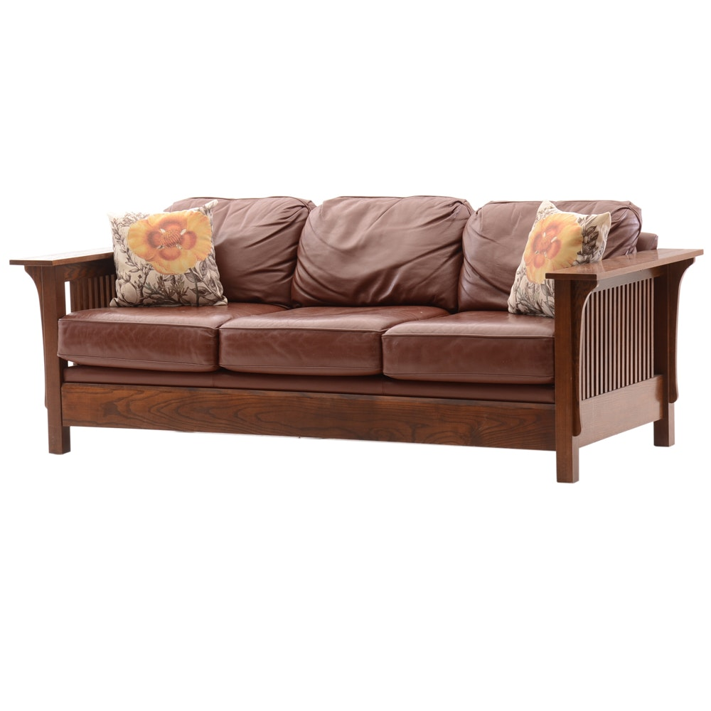 Arts And Crafts Style Oak And Leather Sofa By Bassett Ebth