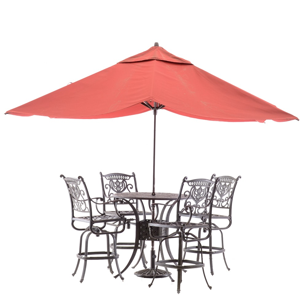 tall patio table with umbrella and chairs ebth rh ebth com tall patio table tall patio table with fire pit