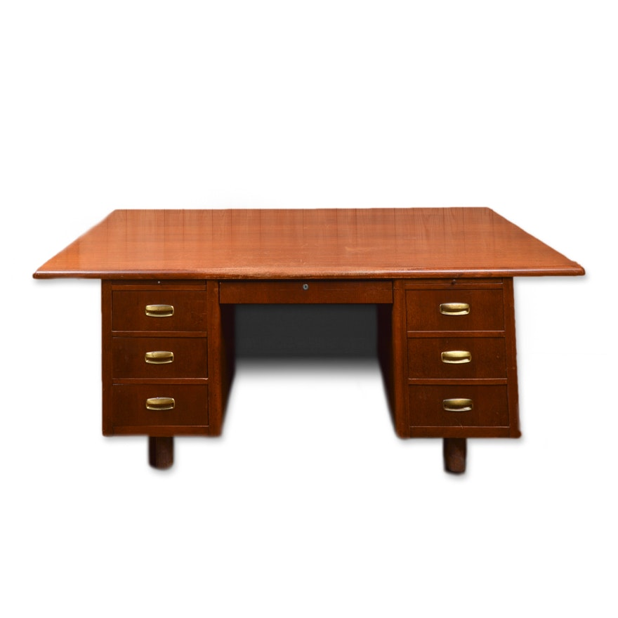 Vintage Mid Century Modern Executive Desk Ebth