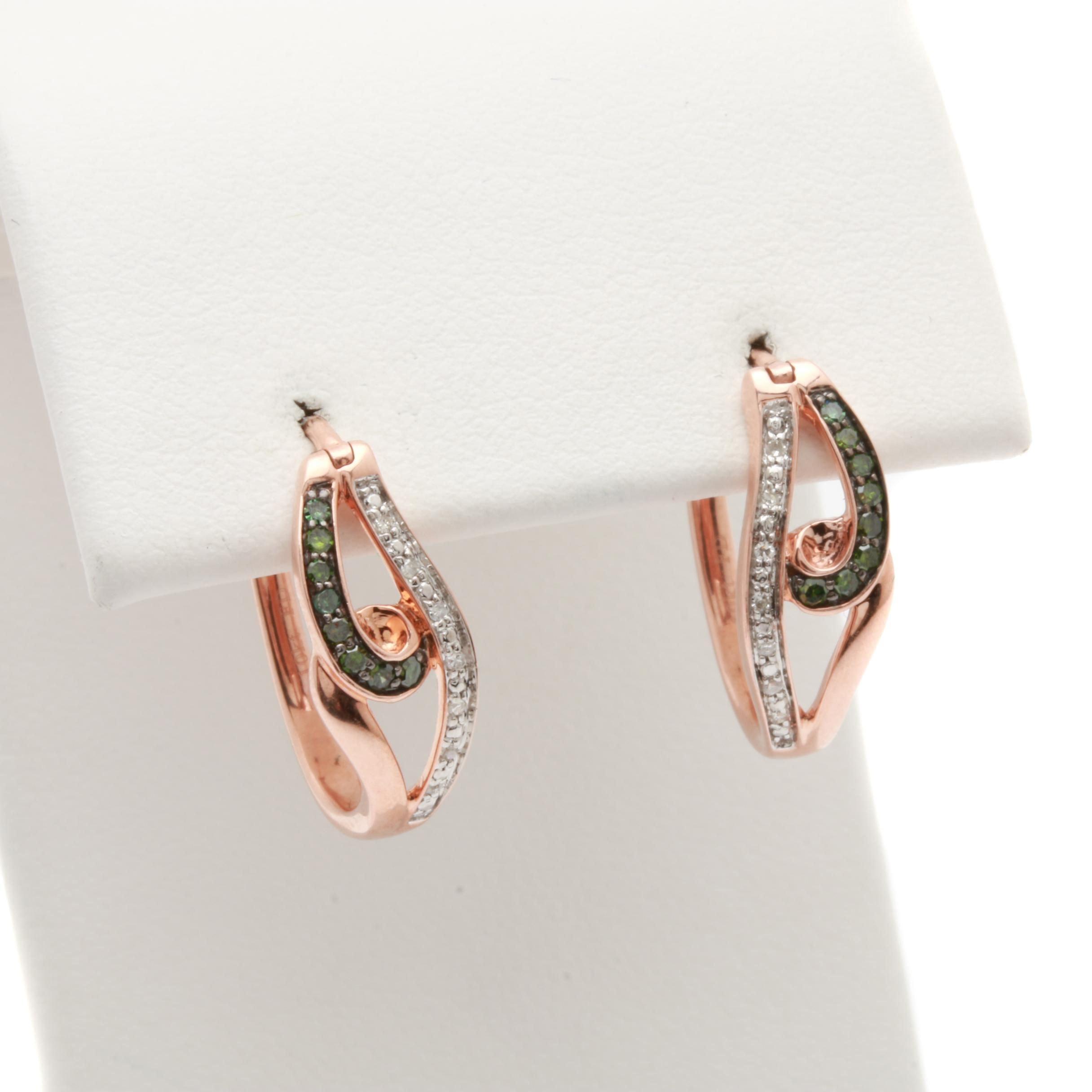 10K Rose Gold Diamond Hoop Earrings Including Green Diamonds