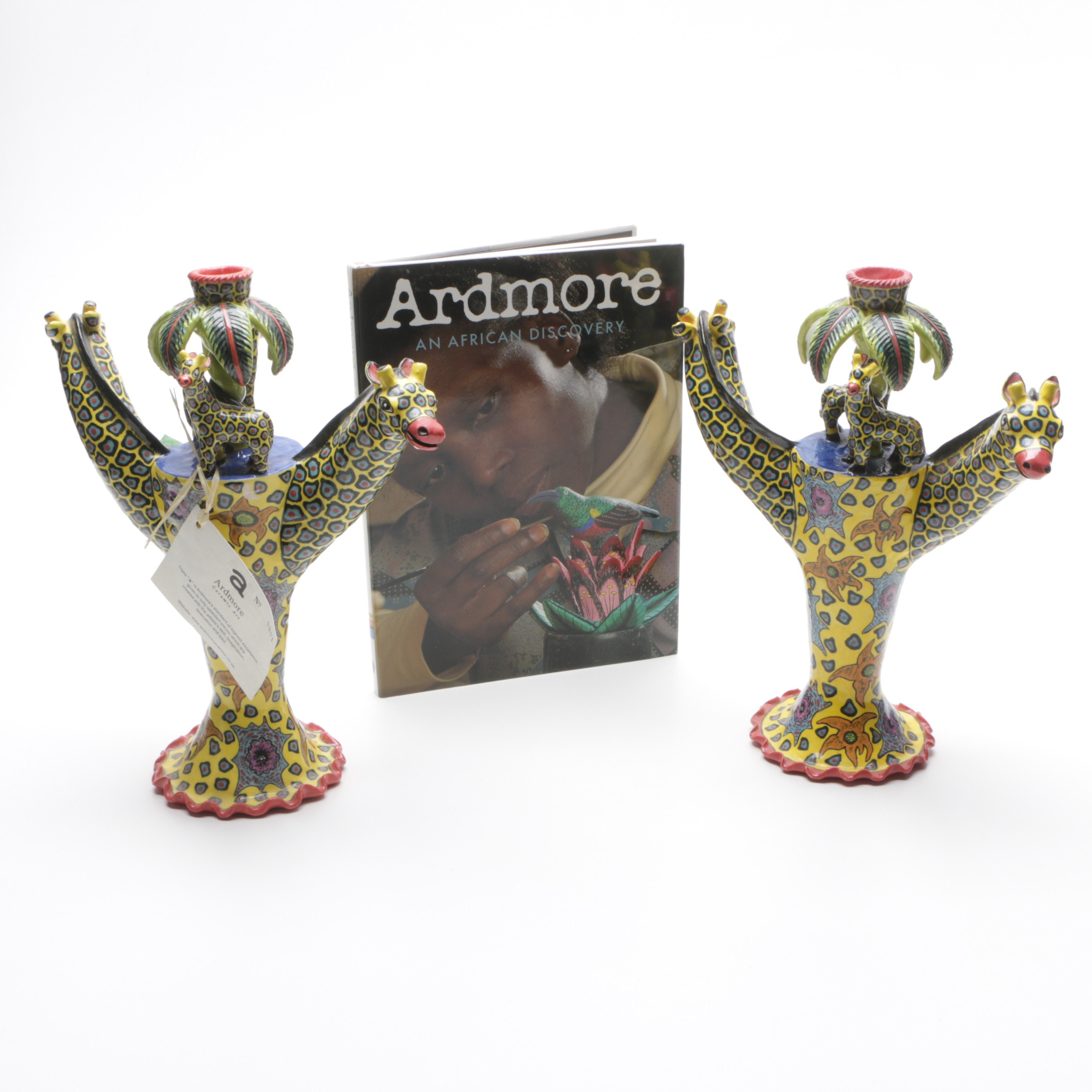Hand Painted Ardmore Giraffe Candle Holders and Book