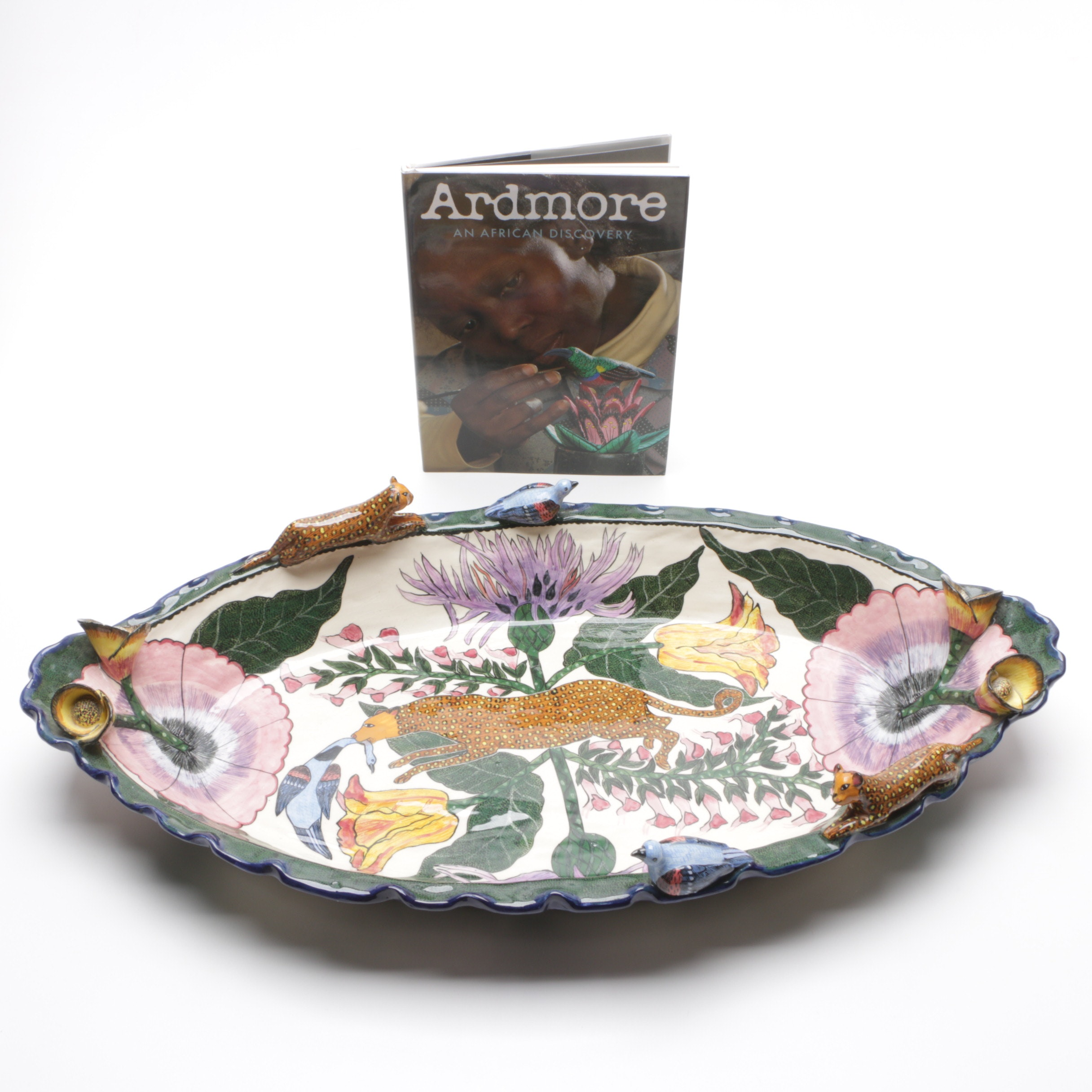Signed Ardmore Ceramics Hand Painted Art Pottery Console Bowl and Book