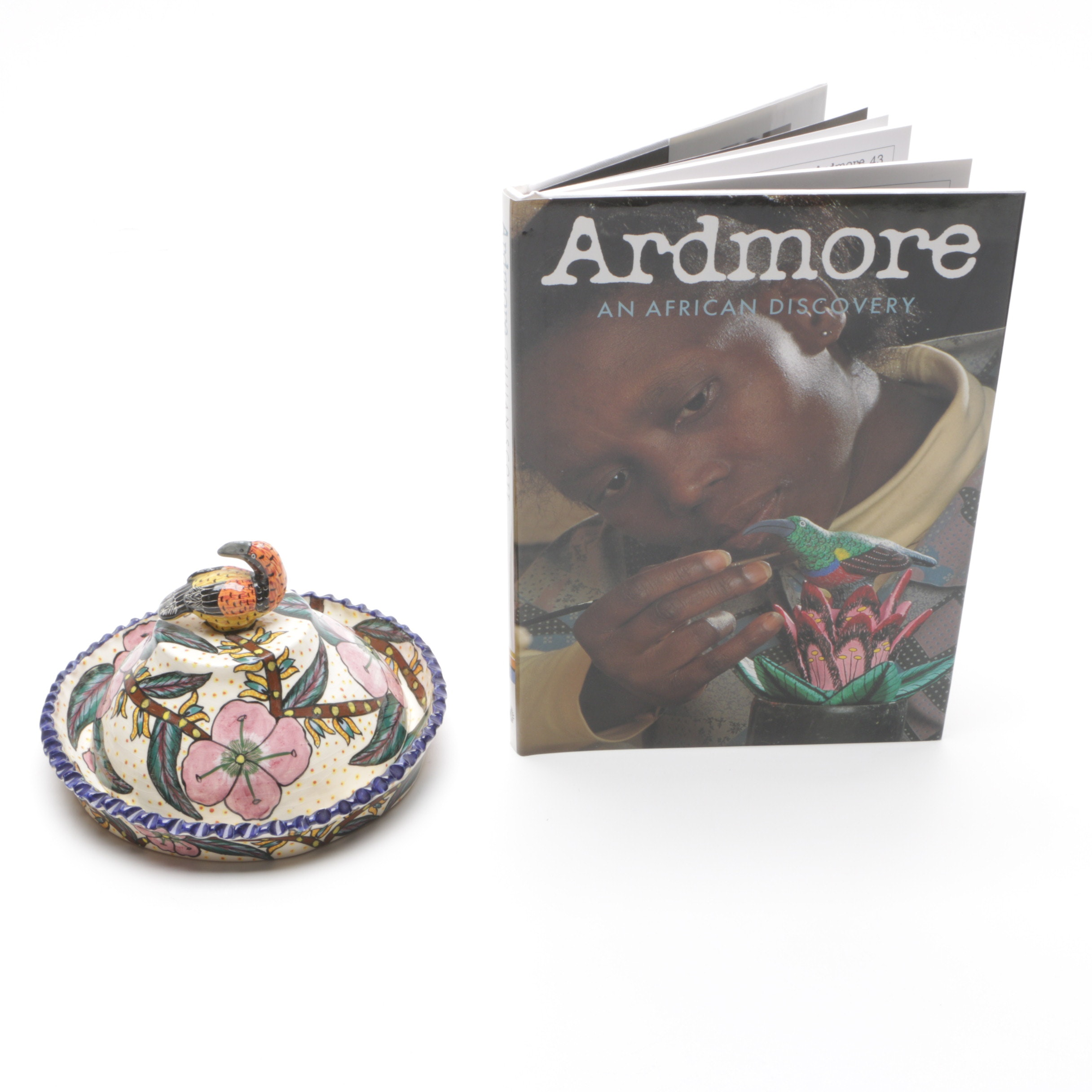 Ardmore Studio Hand Painted Ceramic Lidded Bowl and Book