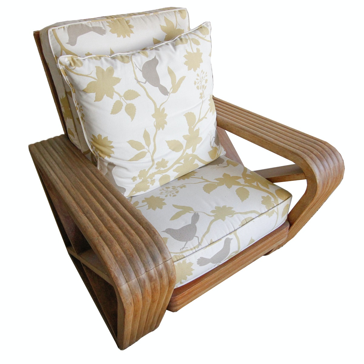 Wooden Outdoor Chair With Padded Seat And Pillows ...