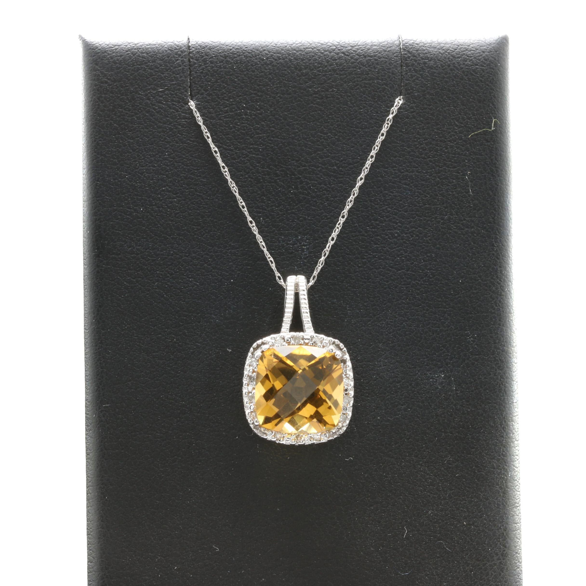 10K White Gold Lemon Quartz and Diamond Pendant Necklace