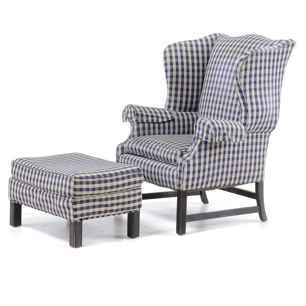 Chippendale Style Blue Plaid Wingback Chair And Ottoman ...