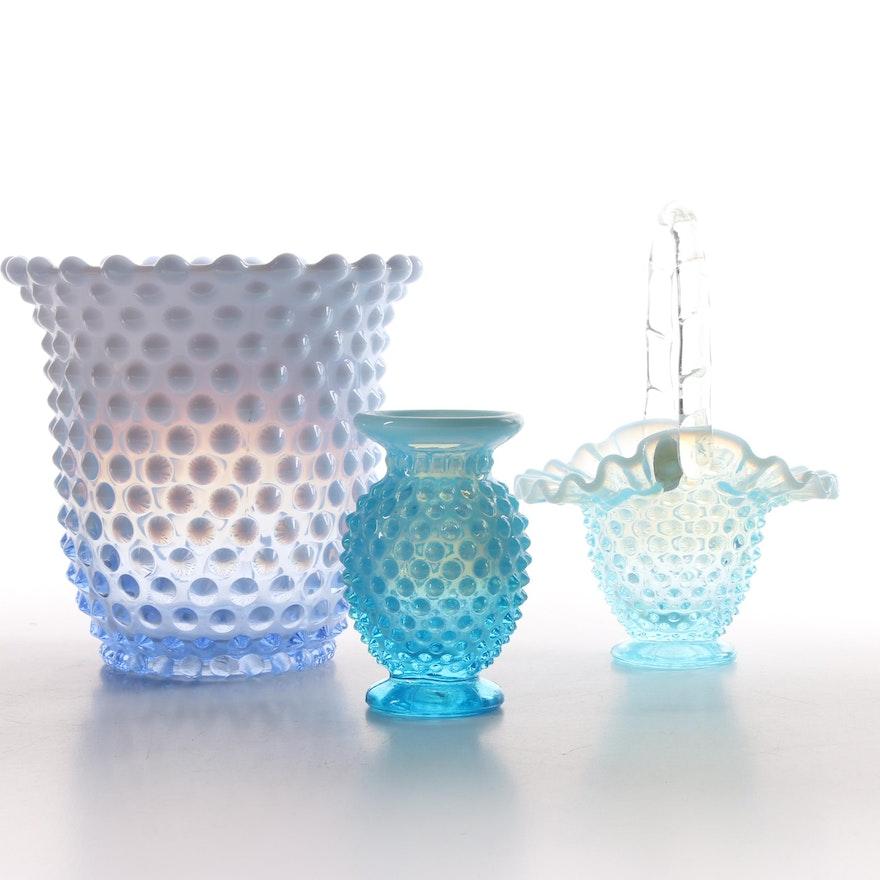 Fenton Hobnail Blue Opalescent Glass Vases And Basket Ebth