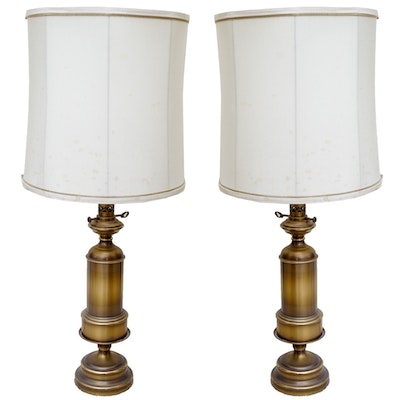 Vintage brass cylindrical table lamps