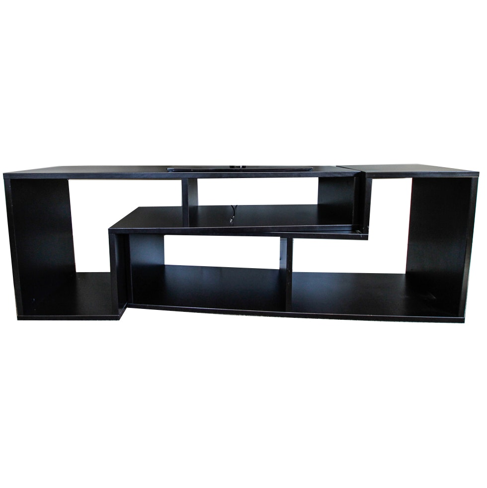 Geometric Television Console Table with Shelves