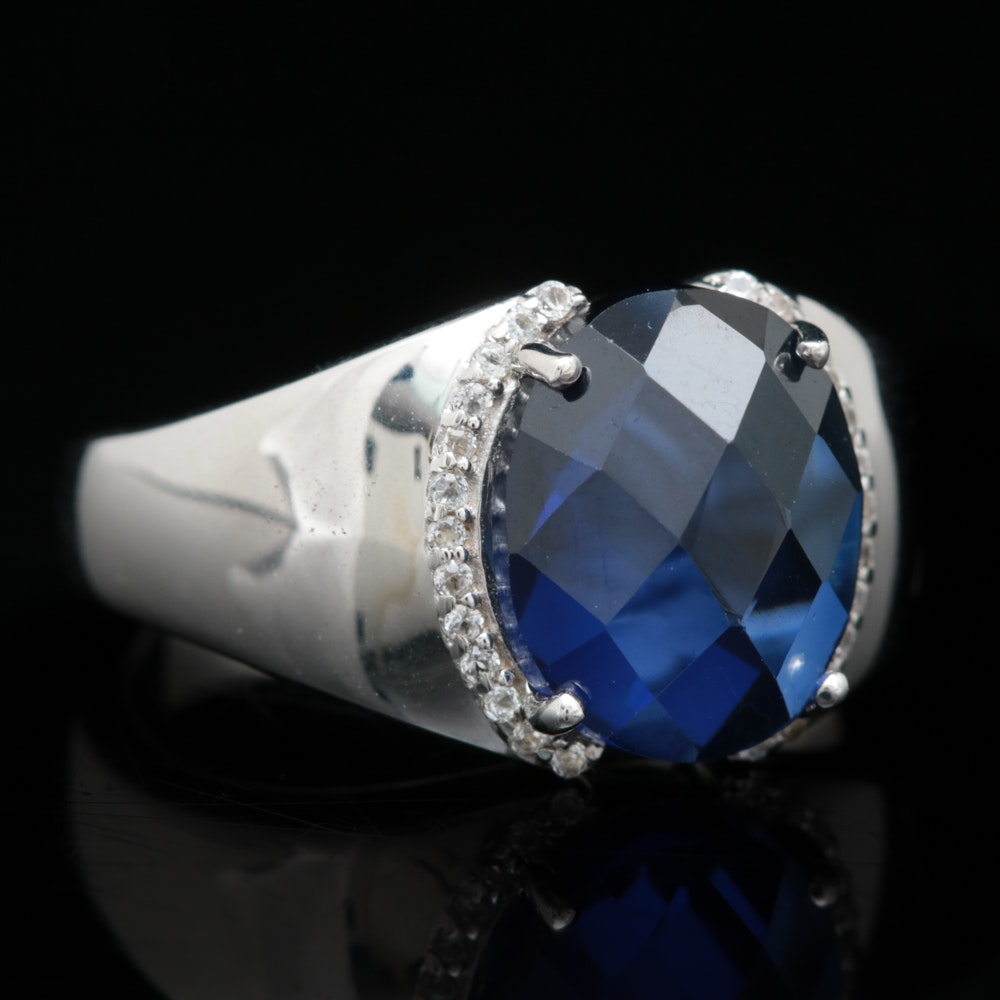 Sterling Silver, Synthetic Blue Sapphire and White Topaz Ring