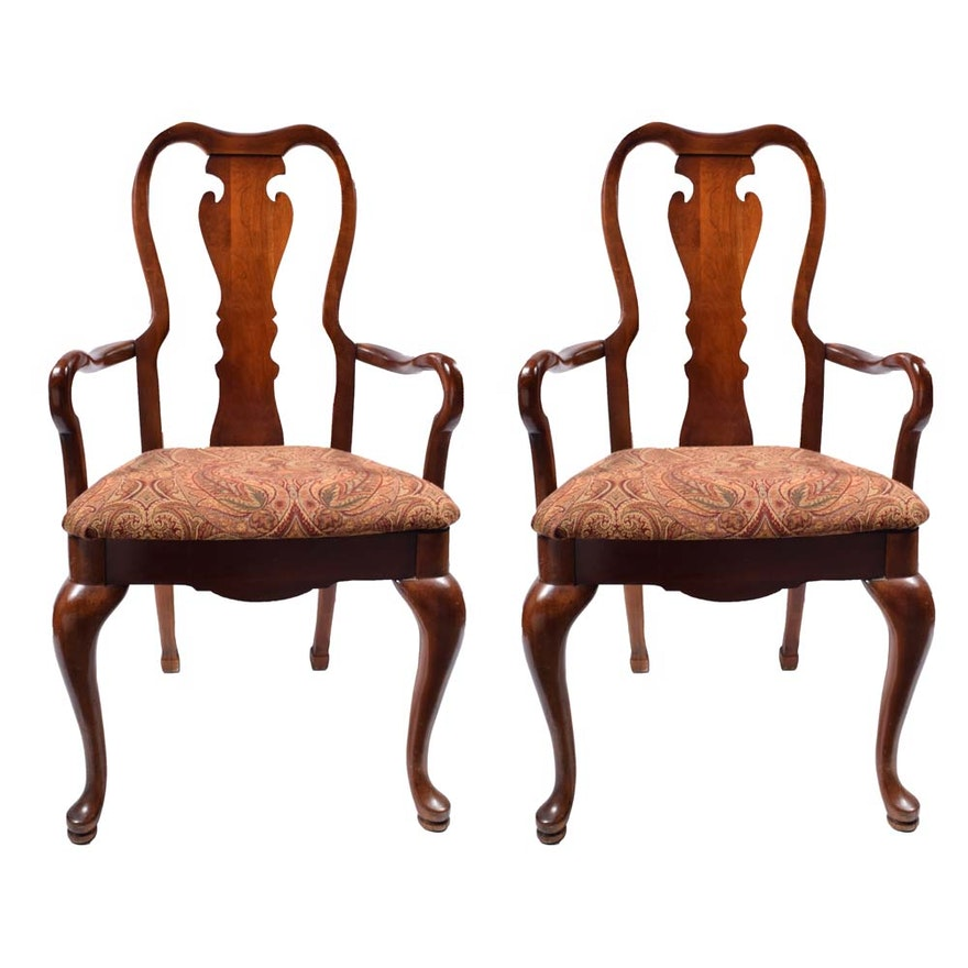 Cherry Queen Anne Dining Chairs By Thomasville