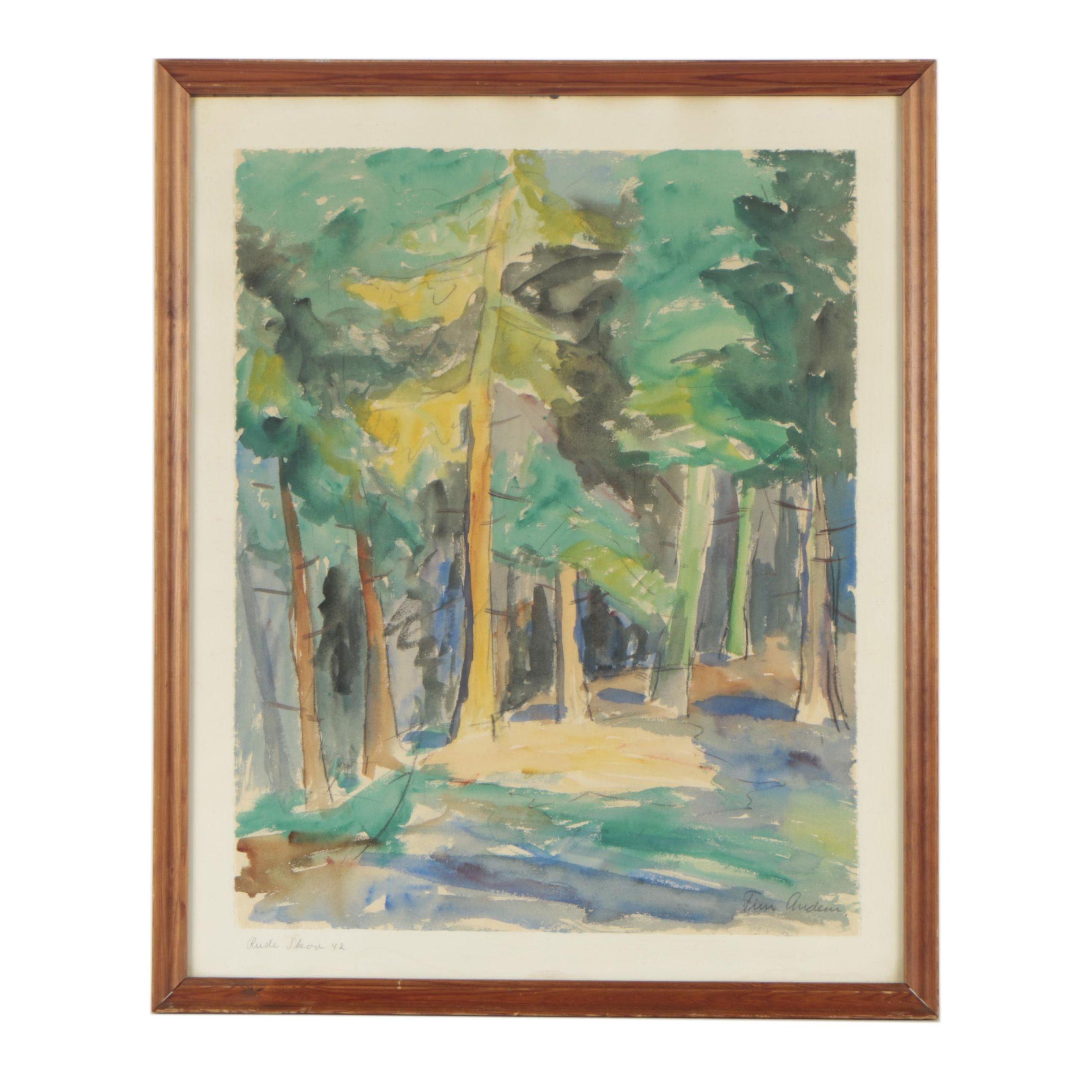 """Finn Anders Watercolor Painting of Trees """"Rude Skov"""""""
