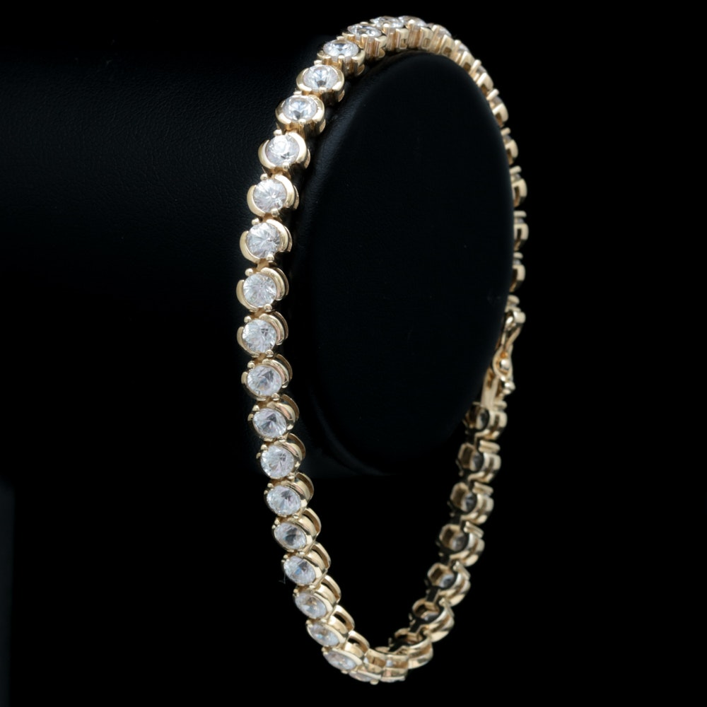 Gold Wash on Sterling Silver and White Zircon Tennis Bracelet