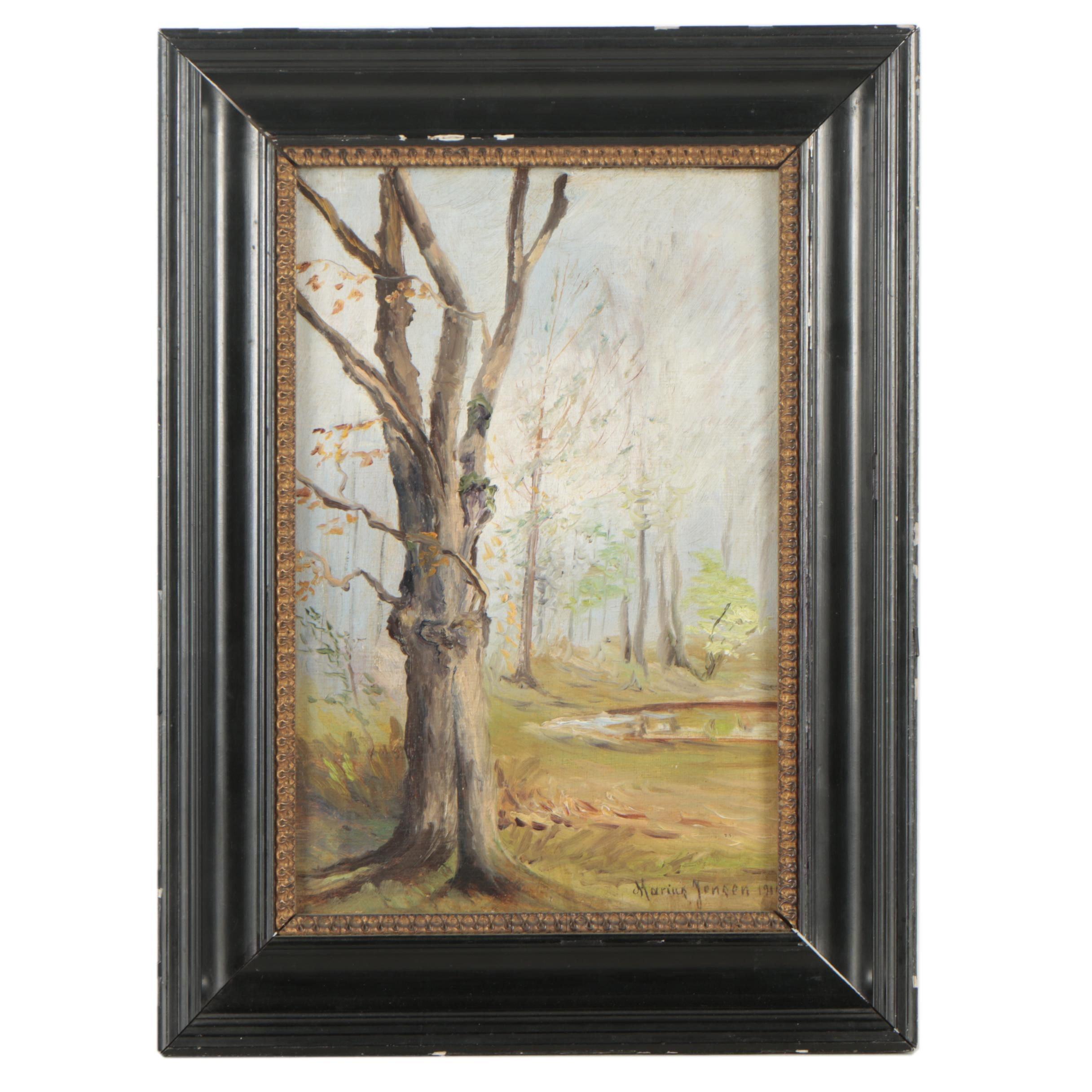 Marius Jensen Oil Painting of a Forest Landscape
