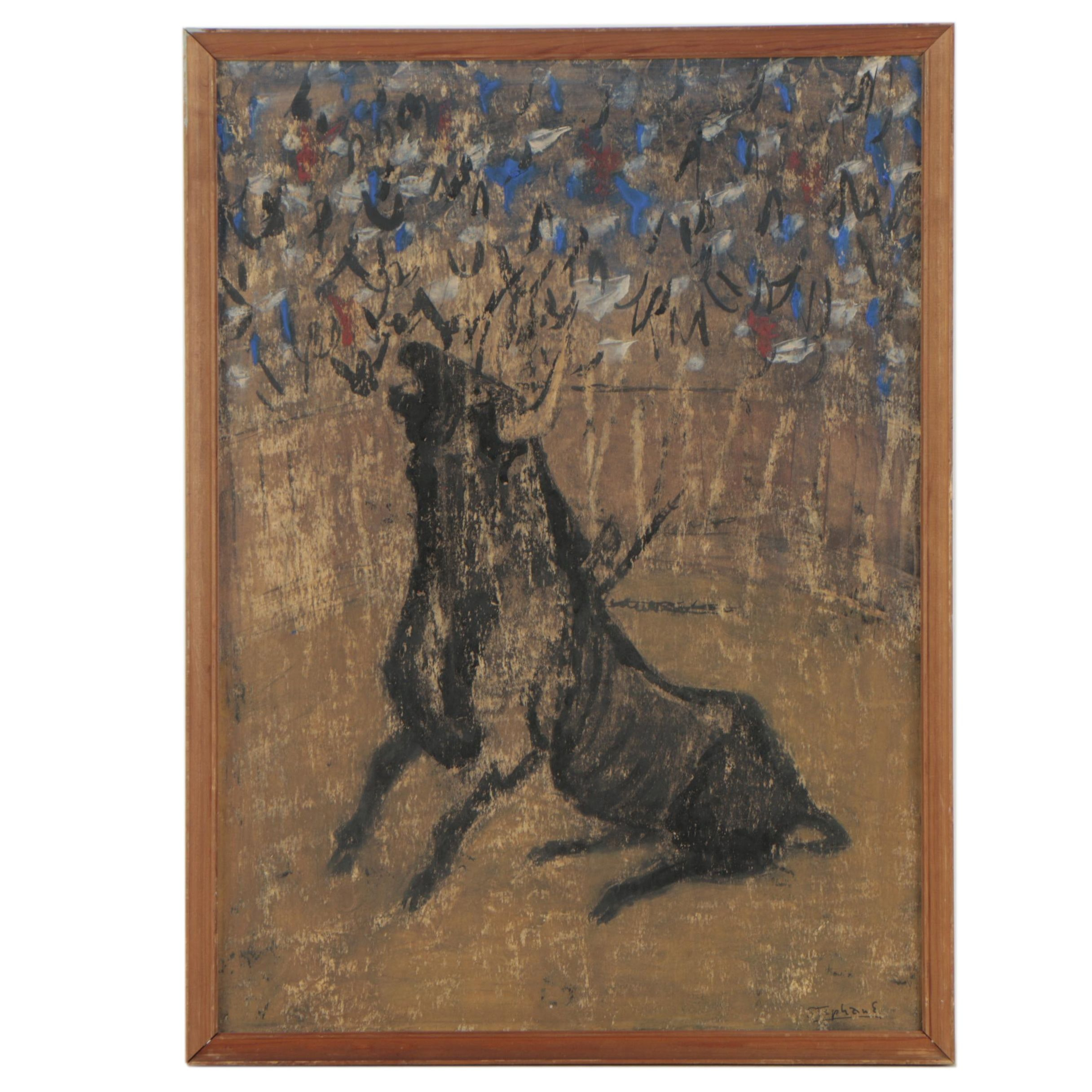 Stephane Folk Art Oil Painting on Paperboard
