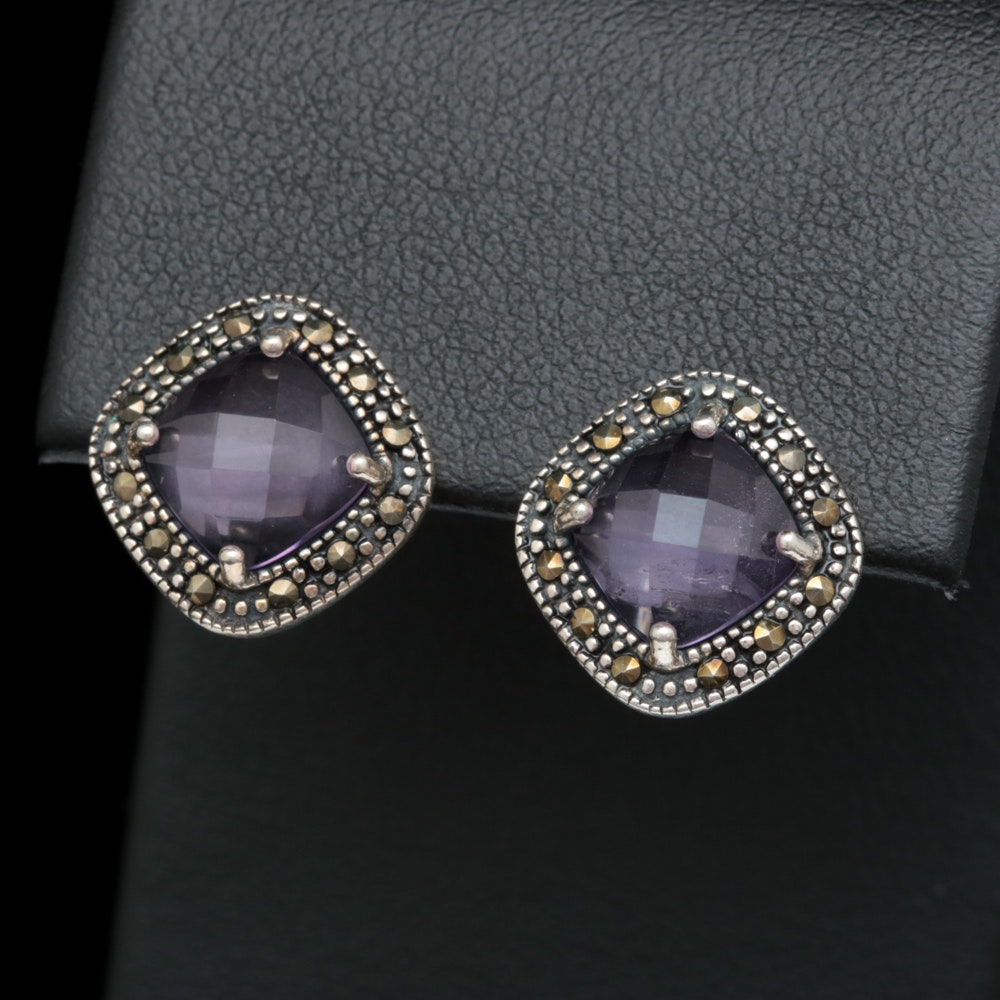 Sterling Silver, Amethyst and Marcasite Earrings