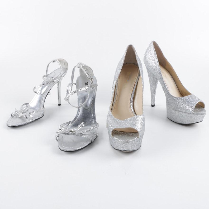 Guess Dress Sandals and Enzo Angiolini Silver Metallic Platform Pumps   EBTH a3e2b91aff38