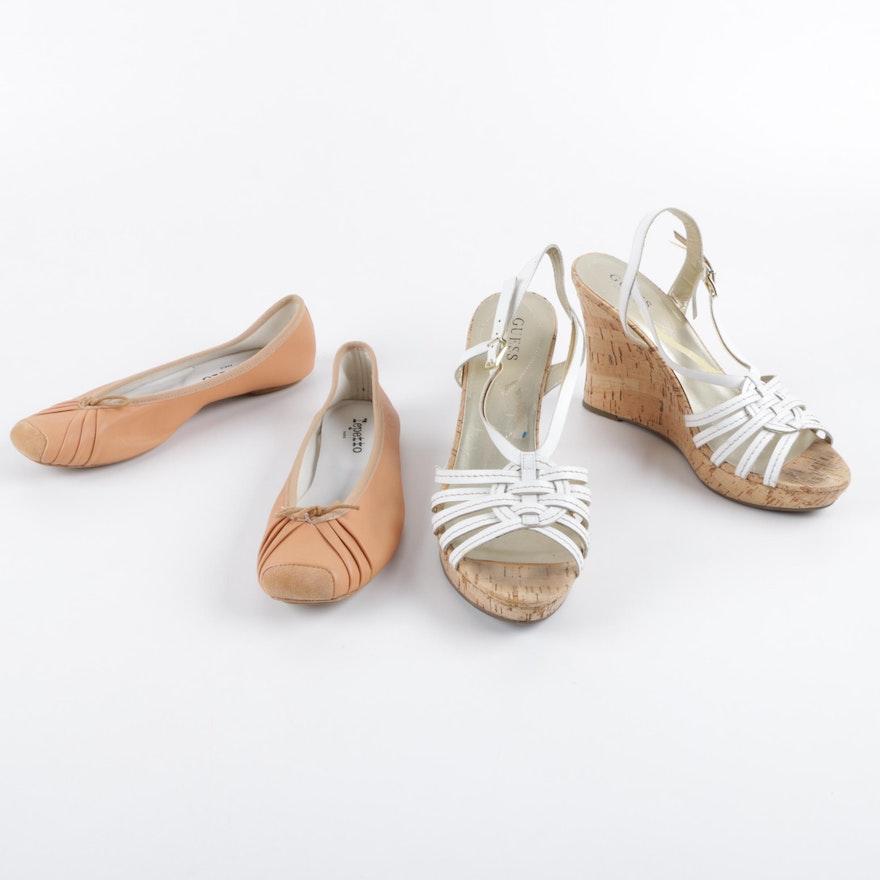0bcb452da1e9 Repetto Paris Leather Flats with Guess Cork Wedge Sandals   EBTH