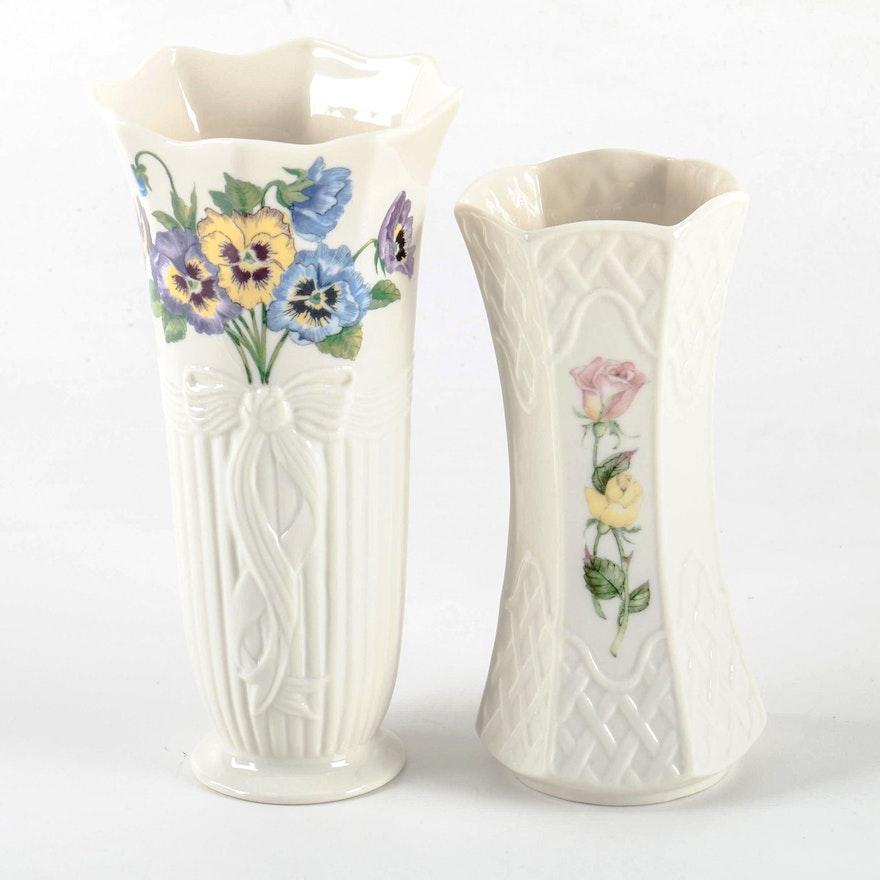 Belleek Floral Vases Ebth