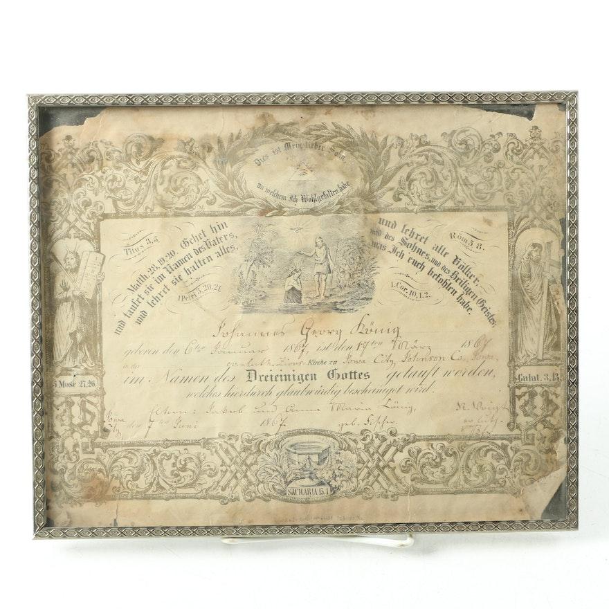 1867 german baptism certificate in frame ebth