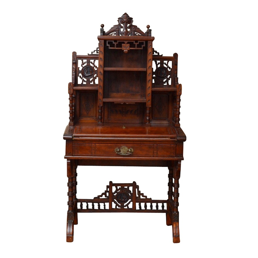 Antique Walnut Captain's Desk, ... - Antique Walnut Captain's Desk, Circa 1870-1880 : EBTH